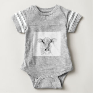 Moo A Young Jersey Cow Baby Bodysuit