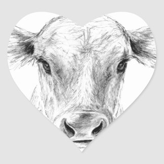 Moo A Young Jersey Cow Heart Sticker