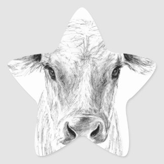 Moo A Young Jersey Cow Star Sticker