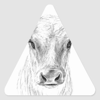 Moo A Young Jersey Cow Triangle Sticker