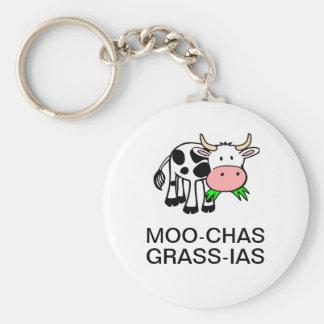 Moo-chas Grass-ias (Muchas Gracias) Round Keychain