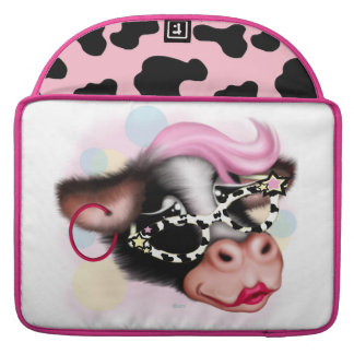 "MOO FACE 2 COW CARTOON Rickshaw Macbook Sleeve 15"" Sleeve For MacBooks"