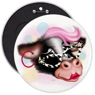 MOO FACE COW CARTOON Colossal, 6 Inch 6 Inch Round Button