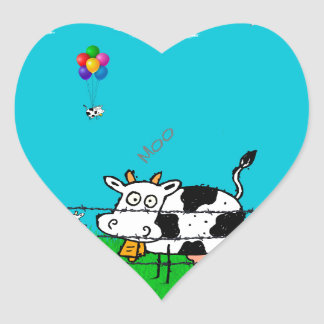 Moo Heart Sticker