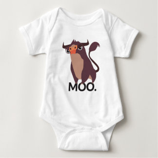 Moo, mean cow design baby bodysuit