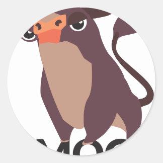 Moo, mean cow design classic round sticker