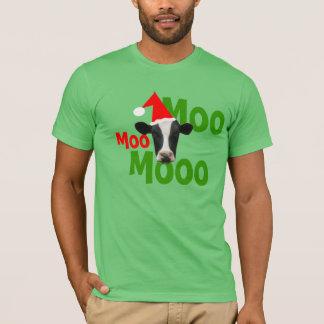 Moo Moo Moo Christmas Santa Cow T-Shirt