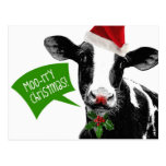 Moo rry Christmas! Funny Holiday Cow in Santa Hat Post Cards