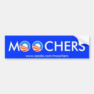 Moochers bumper sticker on blue