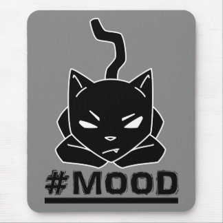 #MOOD Cat Black Logo Illustration Mouse Pad