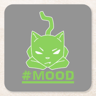 #MOOD Cat Green Square Paper Coaster