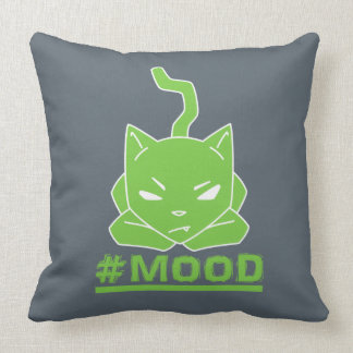 #MOOD Cat Lime Logo Illustration Throw Pillow