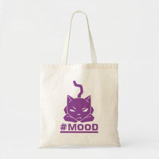 #Mood Cat Purple Tote Bag