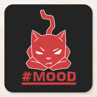 #MOOD Cat Red Square Paper Coaster