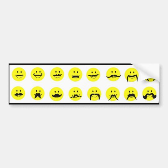 Moodstaches Smiley Face Moustache Bumper Sticker