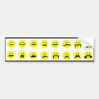 Moodstaches Smiley Face Mustache Bumper Sticker