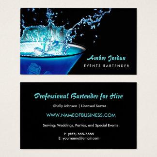 Moody Blue Beverage Splash Edgy Events Bartender Business Card