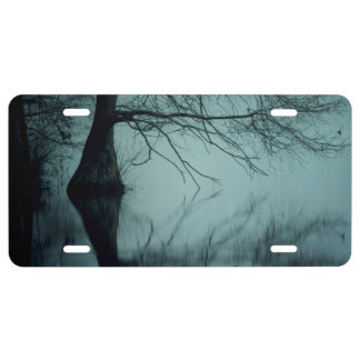 Moody blue foggy bald cypress swamp in East Texas License Plate
