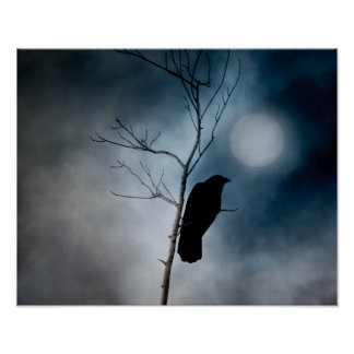 Moody Crow Moon Poster