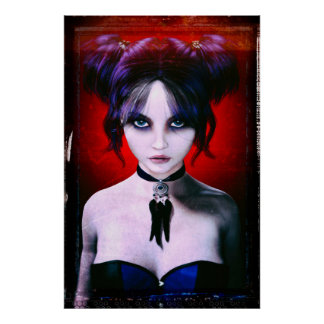 Moody Goth Girl Portrait Poster