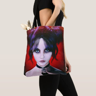 Moody Goth Girl Portrait Tote Bag