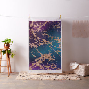 Moody Marble   Luxe Deep Purple Teal Rose Gold Fabric