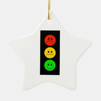 Moody Stoplight Ceramic Ornament