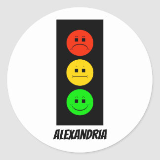 Moody Stoplight Customizable with Name Classic Round Sticker