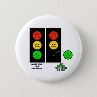Moody Stoplight Geniuses Think Outside The Box 2 Inch Round Button