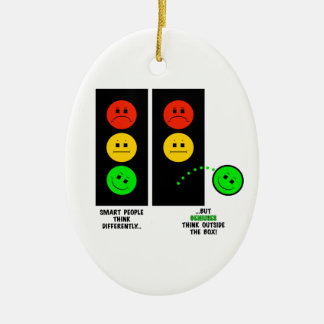 Moody Stoplight Geniuses Think Outside The Box Ceramic Ornament