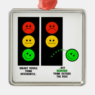 Moody Stoplight Geniuses Think Outside The Box Metal Ornament