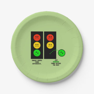 Moody Stoplight Geniuses Think Outside The Box Paper Plate