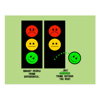 Moody Stoplight Geniuses Think Outside The Box Postcard