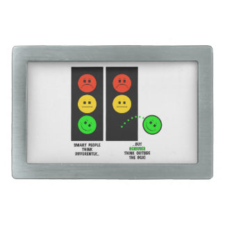 Moody Stoplight Geniuses Think Outside The Box Rectangular Belt Buckle