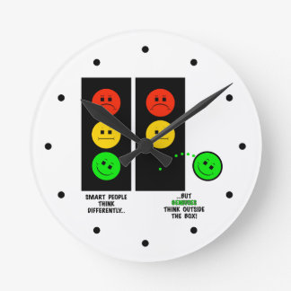 Moody Stoplight Geniuses Think Outside The Box Round Clock