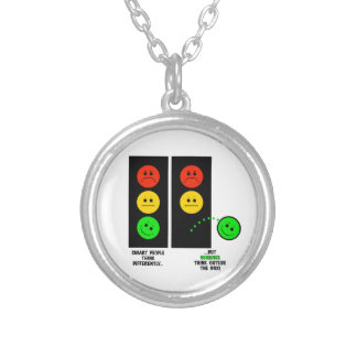 Moody Stoplight Geniuses Think Outside The Box Silver Plated Necklace