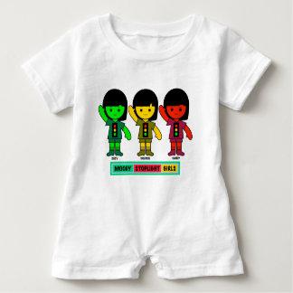 Moody Stoplight Girls in Shorts Baby Romper