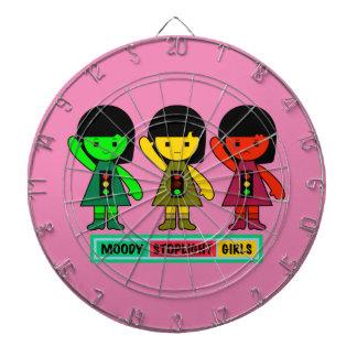 Moody Stoplight Girls w/ Label Dartboard