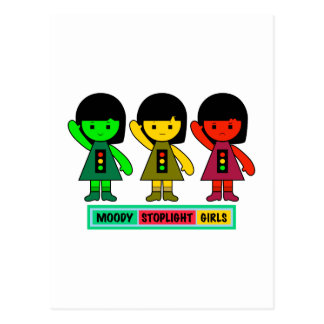 Moody Stoplight Girls w/ Label Postcard