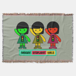 Moody Stoplight Girls w/ Label Throw Blanket