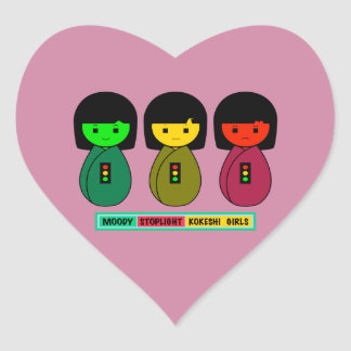 Moody Stoplight Kokeshi Girls w/ Label