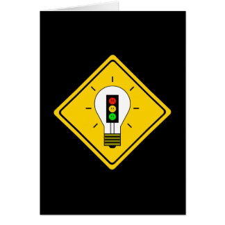 Moody Stoplight Lightbulb Ahead Card