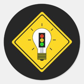 Moody Stoplight Lightbulb Ahead Classic Round Sticker
