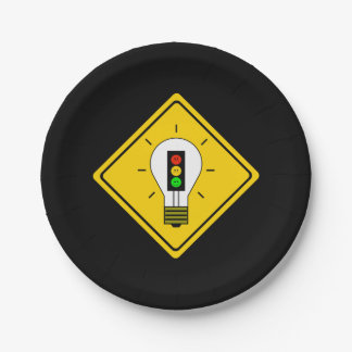 Moody Stoplight Lightbulb Ahead Paper Plate