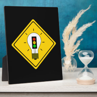 Moody Stoplight Lightbulb Ahead Plaque