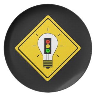 Moody Stoplight Lightbulb Ahead Plate