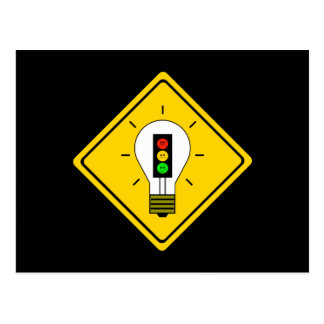 Moody Stoplight Lightbulb Ahead Postcard