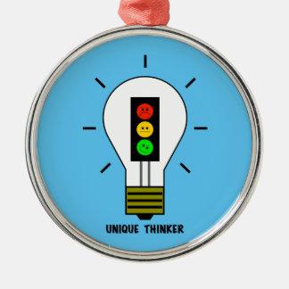 Moody Stoplight Lightbulb Unique Thinker Metal Ornament