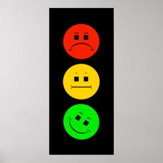 Moody Stoplight Tilted Green Poster