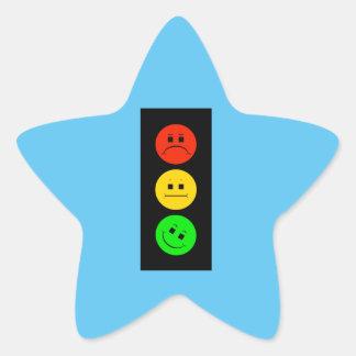 Moody Stoplight Tilted Green Star Sticker